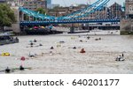 View of hundreds of rowing boats on the river Thames at Tower bridge in London