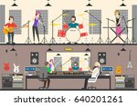 sound recording studio. | Shutterstock .eps vector #640201261