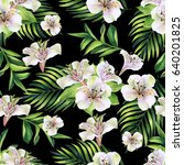 seamless pattern with tropical... | Shutterstock . vector #640201825