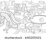 childrens playground coloring....   Shutterstock . vector #640205431