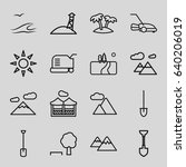 landscape icons set. set of 16... | Shutterstock .eps vector #640206019
