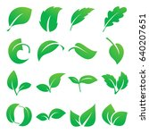 leaf icons. collection of green ... | Shutterstock .eps vector #640207651