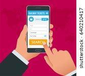 railway tickets booking online... | Shutterstock .eps vector #640210417