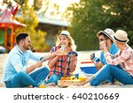 a group of friends having great ... | Shutterstock . vector #640210669