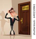 scared frightened office worker ... | Shutterstock .eps vector #640210861