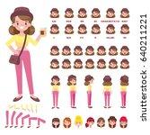 flat vector hipster girl... | Shutterstock .eps vector #640211221