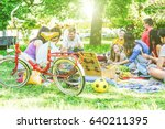 group of a lot of people having ... | Shutterstock . vector #640211395