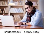 young writer working in the...   Shutterstock . vector #640224559