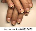 beautiful nail art close up   Shutterstock . vector #640228471