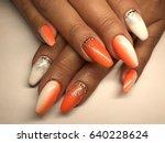 beautiful nail art close up   Shutterstock . vector #640228624
