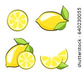 set yellow lemons in pop art... | Shutterstock .eps vector #640230055