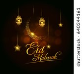 golden eid mubarak vector... | Shutterstock .eps vector #640244161
