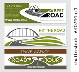 road travel and car trip banner ... | Shutterstock .eps vector #640244551