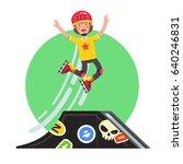teen kid doing stunt jump from... | Shutterstock .eps vector #640246831