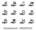 insurance hand web icons for... | Shutterstock .eps vector #640254121