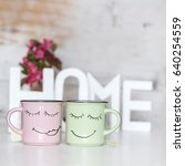funny cups with happy faces... | Shutterstock . vector #640254559