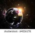 Real Earth, day and night lights. Map for Earth 3d reconstruction is used from NASA site - stock photo