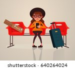 happy smiling woman tourist... | Shutterstock .eps vector #640264024