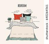 vector interior of a bedroom.... | Shutterstock .eps vector #640264561