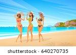 three woman in bikini on beach  ...