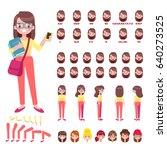 flat vector girl student... | Shutterstock .eps vector #640273525