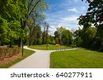 public park in spring day ... | Shutterstock . vector #640277911