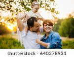 little girl looks at her mother ... | Shutterstock . vector #640278931