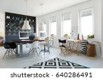 simple workspace with long desk ... | Shutterstock . vector #640286491