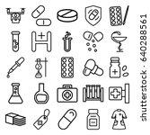 pharmacy icons set. set of 25... | Shutterstock .eps vector #640288561