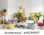 white  retro living room with... | Shutterstock . vector #640290097