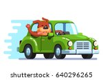 cute happy dog riding retro... | Shutterstock .eps vector #640296265