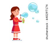 little standing girl kid... | Shutterstock .eps vector #640297174