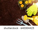 gardening tools and marigold... | Shutterstock . vector #640304425