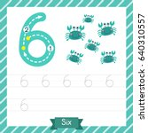 number six tracing practice... | Shutterstock .eps vector #640310557
