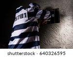 male prisoner wearing prison... | Shutterstock . vector #640326595