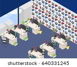 raster isometric office open... | Shutterstock . vector #640331245
