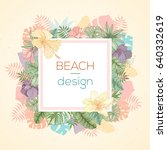 hand drawn tropical palm leaves ... | Shutterstock .eps vector #640332619