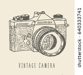 vintage camera nand drawn logo... | Shutterstock .eps vector #640333741