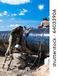 gas pipeline welders | Shutterstock . vector #64033906