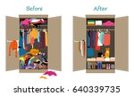 before untidy and after tidy... | Shutterstock .eps vector #640339735