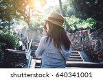 a photographer hipster girl... | Shutterstock . vector #640341001