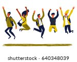 happy group of young people are ... | Shutterstock .eps vector #640348039