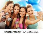 young women group taking selfie ... | Shutterstock . vector #640353361
