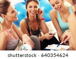 young women group discussing... | Shutterstock . vector #640354624