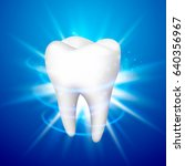 tooth on a blue background.... | Shutterstock .eps vector #640356967