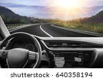 car rushes along the highway.... | Shutterstock . vector #640358194