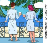 tropical honeymoon. happy... | Shutterstock .eps vector #640359799