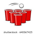red beer pong with ball vector | Shutterstock .eps vector #640367425