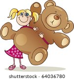 girl with big teddy bear | Shutterstock . vector #64036780