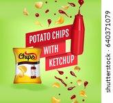 potato chips ads. vector... | Shutterstock .eps vector #640371079